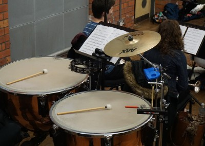 Timpani section during orchestra recording